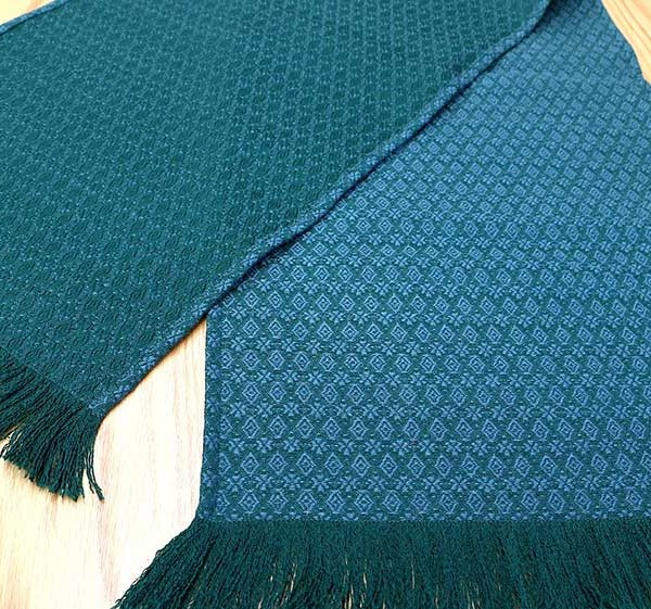 Runner in green and blue figured worsted hearts and diamonds